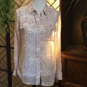 Sz6 snakeskin print WHBM blouse purple cream